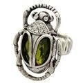 Cleopatra Retro Gold Egyptian khepri Scarab Beetle Green Stone Finger Ring Jewelry 2017 New