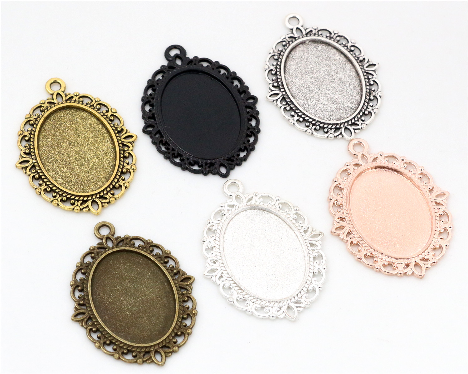 10pcs 18x25mm Inner Size 6 Colors Plated Classic Style Cameo Cabochon Base Setting Charms Pendant Necklace Findings
