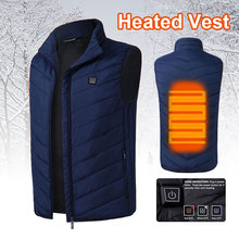 Hot Sale USB 5-12v Electric Heating Down Vest Heated Pad Jacket Clothing Navy Blue Skiing Cloth Accessories