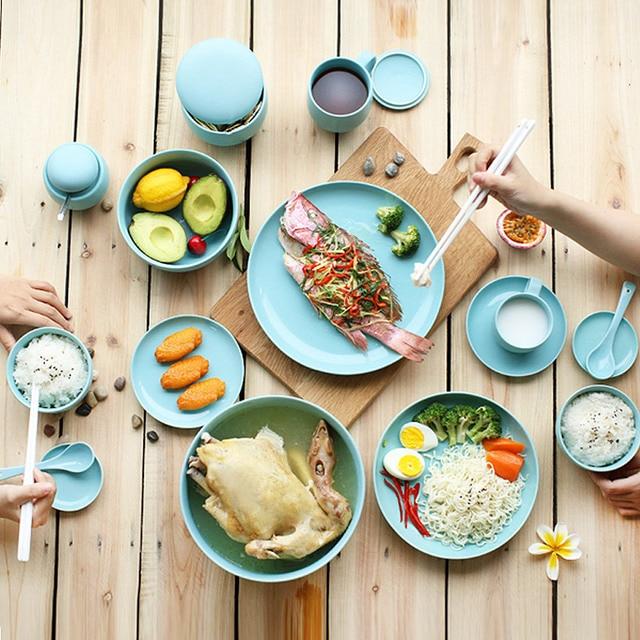 11 Stücke Keramik Besteck Sets Kreative Westlichen Stil Porzellan In  Verglasten Dekoration Geschirr Set Blau Hohe