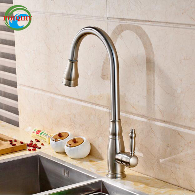Brushed rotational Nickel Pull Out Pull Down Sprayer Kitchen Faucet Single Handle Deck Mounted Kitchen Sink Mixer Taps simone rocha длинное платье