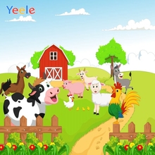 Yeele Children Birthday Party Photography Backdrops Cartoon Farm Animals Kids Green Photographic Backgrounds For Photo Studio