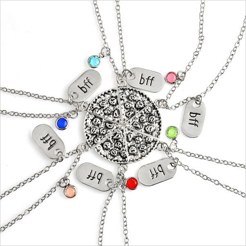 product 6pz/set BFF Pizza Necklace Alloy Silver Slice Pizza Colorful Crysal Dangle Pendant bff Best Friend Forever Friendship Necklace