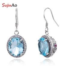 SzjinAo Handmade Round Big Aquamarine Earrings Solid 925 Sterling Silver Luxury Fine Jewelry March Birthstone Earring Wholesale