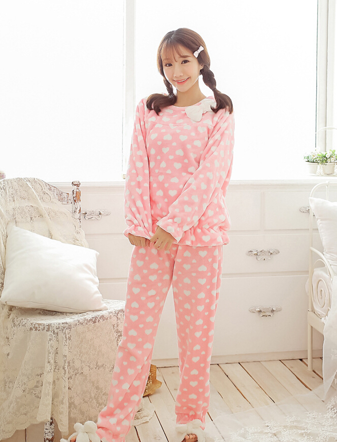 Lady Winter Warm Flennel Pajamas Top and Bottom Pink Pajamas White Dot Very Comfortable Tracksuit Xmas Gifts for Girlfriends Пижама