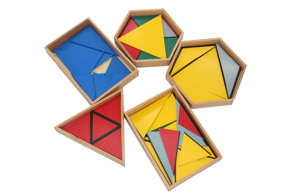 5 Boxes Montessori Learning Toys Wooden Geometric Puzzles Shape and Color Learning Math Toys for Kid Preschool Early Education montessori education wooden toys four color game color matching early child kids education learning toys building blocks