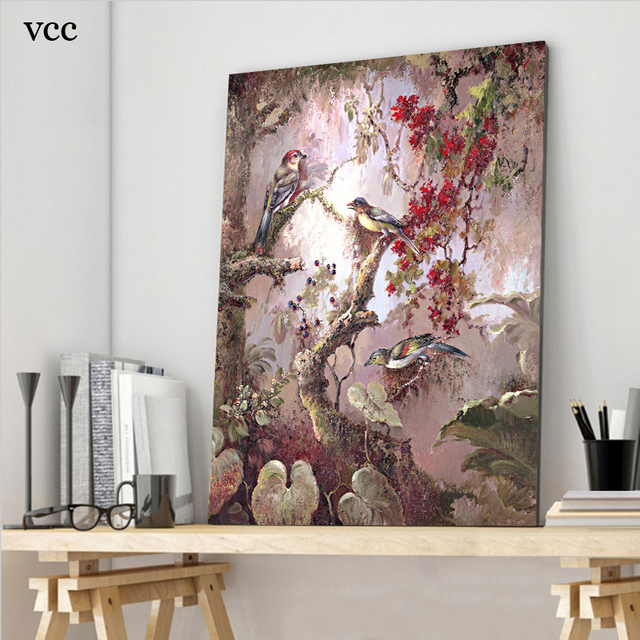 Wall Art Bird Flower Tree Picture Poster,Canvas Paintings On The Wall  Pictures For Living Part 72