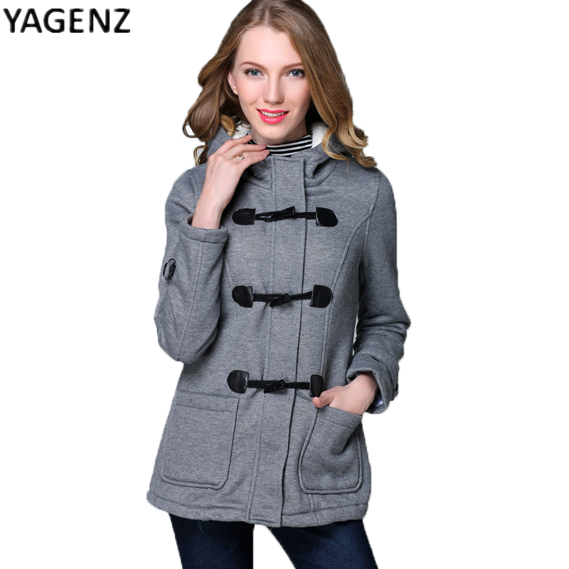 Autumn winter women s 2017 new fashion Slim double breasted hats horns deduction jacket women s
