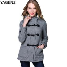 Осень зима женская 2017 новая мода Тонкий двойной грудью шляпы рога вычет куртка женская хлопок пальто YAGENZ XH40