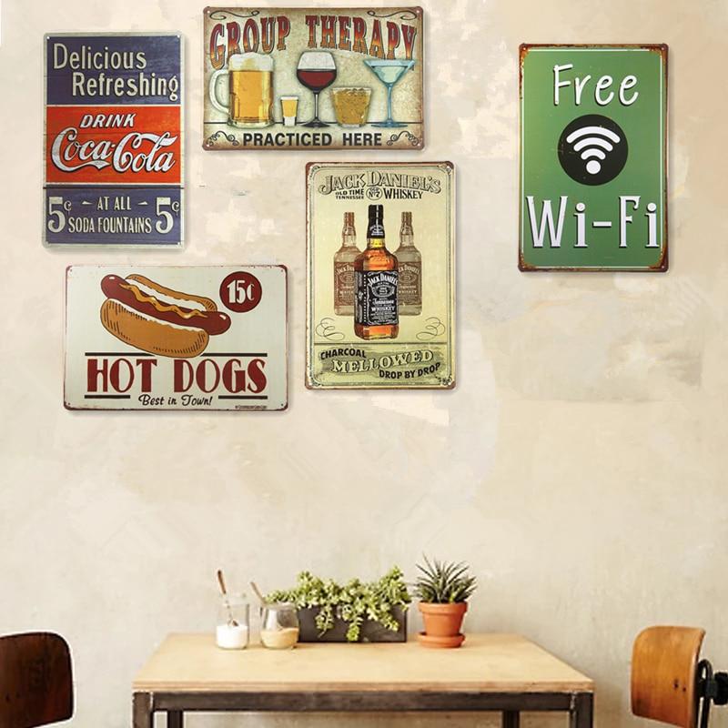 Shabby Chic Tin Metal Signs Home Decor Beer Drinking Hot Dog Pub Vintage  Plate Garage Pub