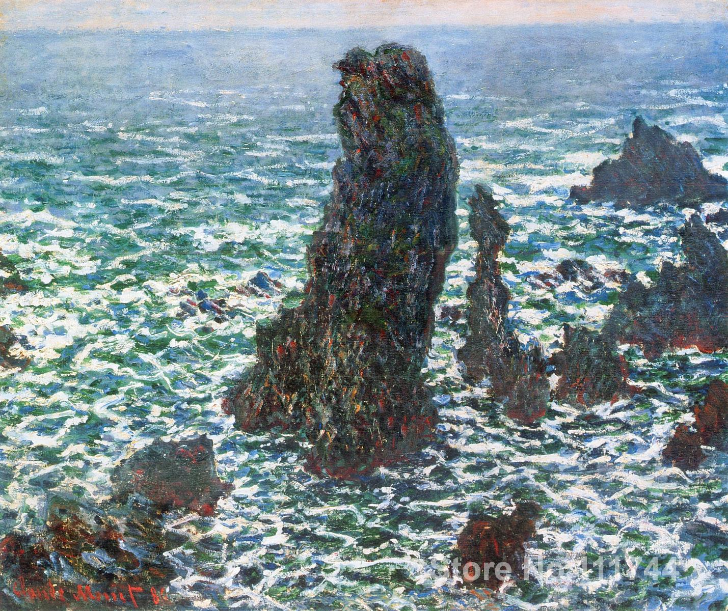 bathroom art The Pyramids of Port Coton Belle Ile en Mer by Claude Monet paintings Home Decor Hand painted High quality