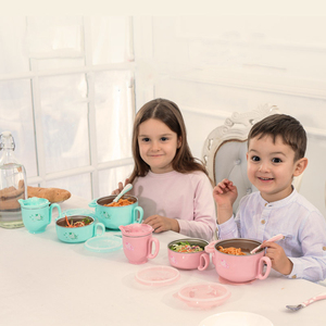 Image 5 - Children dishes set Baby tableware  Stainless feeding Insulated Sucker Spoon Fork Cup Heat preservation Anti hot Training bowl