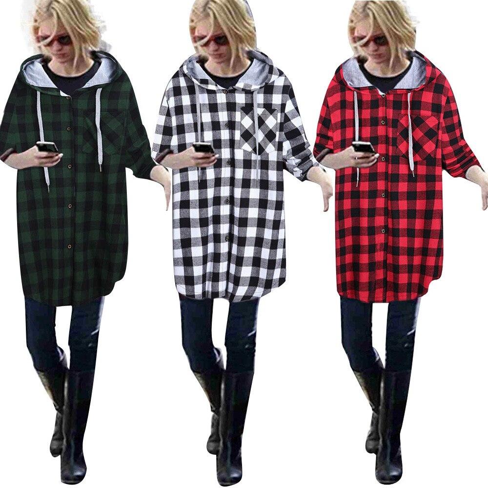 Mode Femmes Hoodies Coton Automne Hiver Manteau 2017 Manches Longues Plaid  Coton Hoodies Bouton Casual Sweats À Capuche Oversize e7168b835a76
