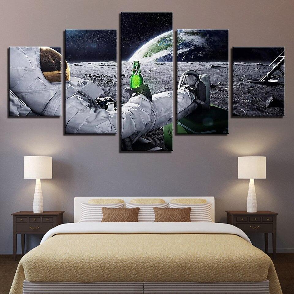 Leinwand Wandkunst Bilder Wohnkultur Rahmen 5 Stücke Astronaut Gemälde  Wohnzimmer HD Drucke Abstraktes Lunar Landschaft Poster