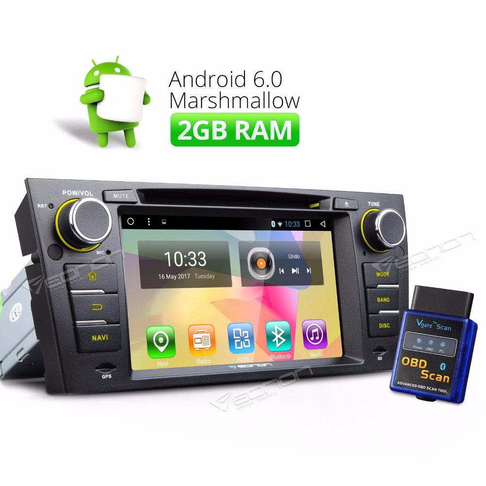 7 Android 6 0 2GB Car Stereo Radio DVD Player GPS for BMW E90 E93 8Core A OBDII