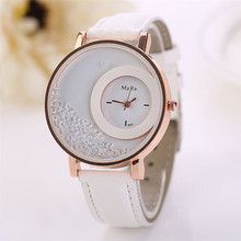 Durable Fashion Woman Leather Quicksand Rhinestone Quartz Bracelet Wristwatch Watch