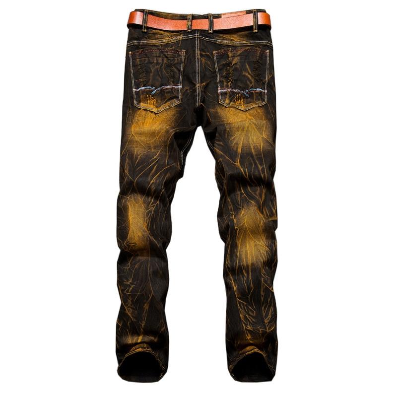 Nya herrsmode tappning hål rippade biker jeans Män casual slim rak - Herrkläder - Foto 2