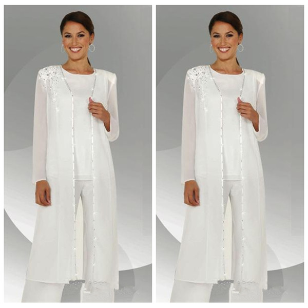 2019 Formal White Chiffon Mother of the Bride Pant Suits With Jacket Long Blouse Sequins Beaded Mother of Groom Dresses 3 Pieces