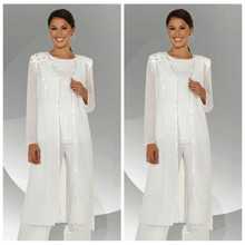2018 Formal White Chiffon Mother of the Bride Pant Suits Wit