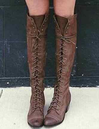 เซ็กซี่ข้ามผูกเข่า - รองเท้าบูทสูงรองเท้ารองเท้าผู้หญิงส้นสูงส้นยาง Flock รองเท้าฤดูหนาวต้นขารองเท้าบูทสูง