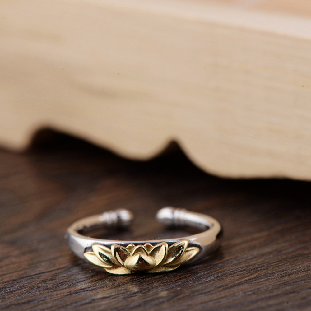 Women's 925 Sterling Silver Golden Lotus Ring 3