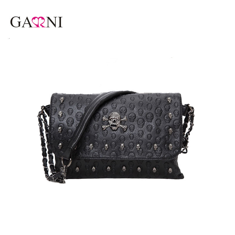 Garni Vintage Fashion Skull Women Messenger Bags Rivet Envelope Mini Clutch Bags Envelope Crossbody Punk Shoulder
