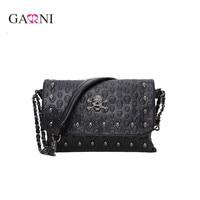 Garni Messenger Small Bag Rivet Skull Shoulder Bag Women Pu Leather Handbag Purse Designer HandBags Crossbody
