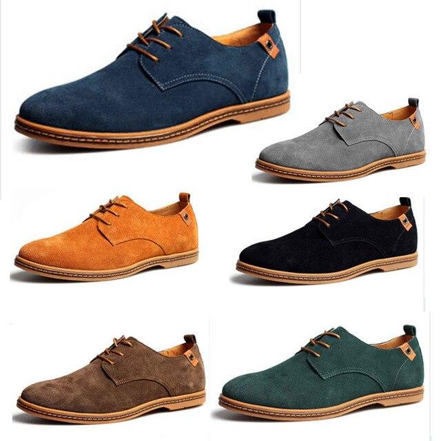 cfec5a55b Novos Homens Camurça De Couro De Oxford Sapatilhas Da Forma Apartamentos Homem  Sapatos Lace Up Para