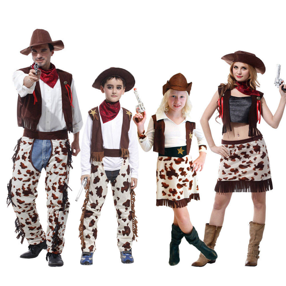 Umorden Cowboy Costume for Boys Men Cowgirl Costumes Girls Women Purim Halloween Cosplay Family