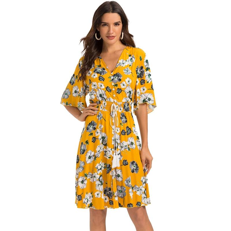 41809b50165d Escalier mujeres Floral botón Up vestido cuello pico Split Flowy Boho  verano fiesta Midi vestido
