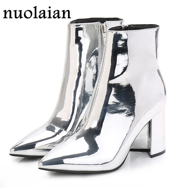 69c3ce2fe9e Womens Patent Leather Ankle Boots Woman Gold Silver Winter Shoes Pointed  Toe High Heel Clear Ankle Boot Mirror Metallic Booties