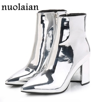 Womens Patent Leather Ankle Boots Woman Gold Silver Winter Shoes Pointed Toe High Heel Clear Ankle Boot Mirror Metallic Booties