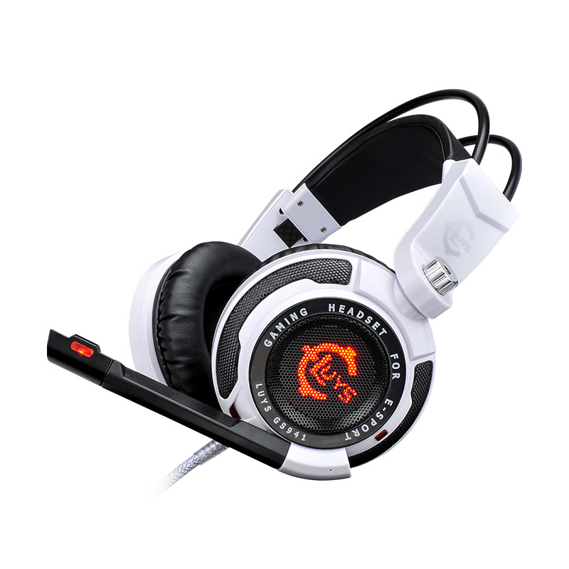 GS941 Gaming Headset LED Light Over Ear Game Headphone Vibration for PC Gamer Computer