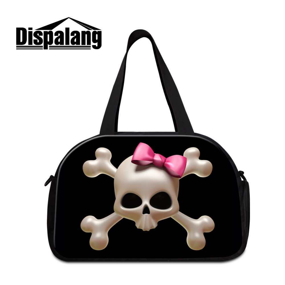 Dispalang Skull Travel Duffel Bags For Women Cool Shoulder Travel Bags With Shoe Pocket For Sporty Girly Floral Travel Purse