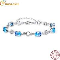 BONLAVIE Ocean Blue Topaz Oval Gemstone jewellery Strand Bracelets & Bangles real 925 Silver fine Jewelry for Women with Box