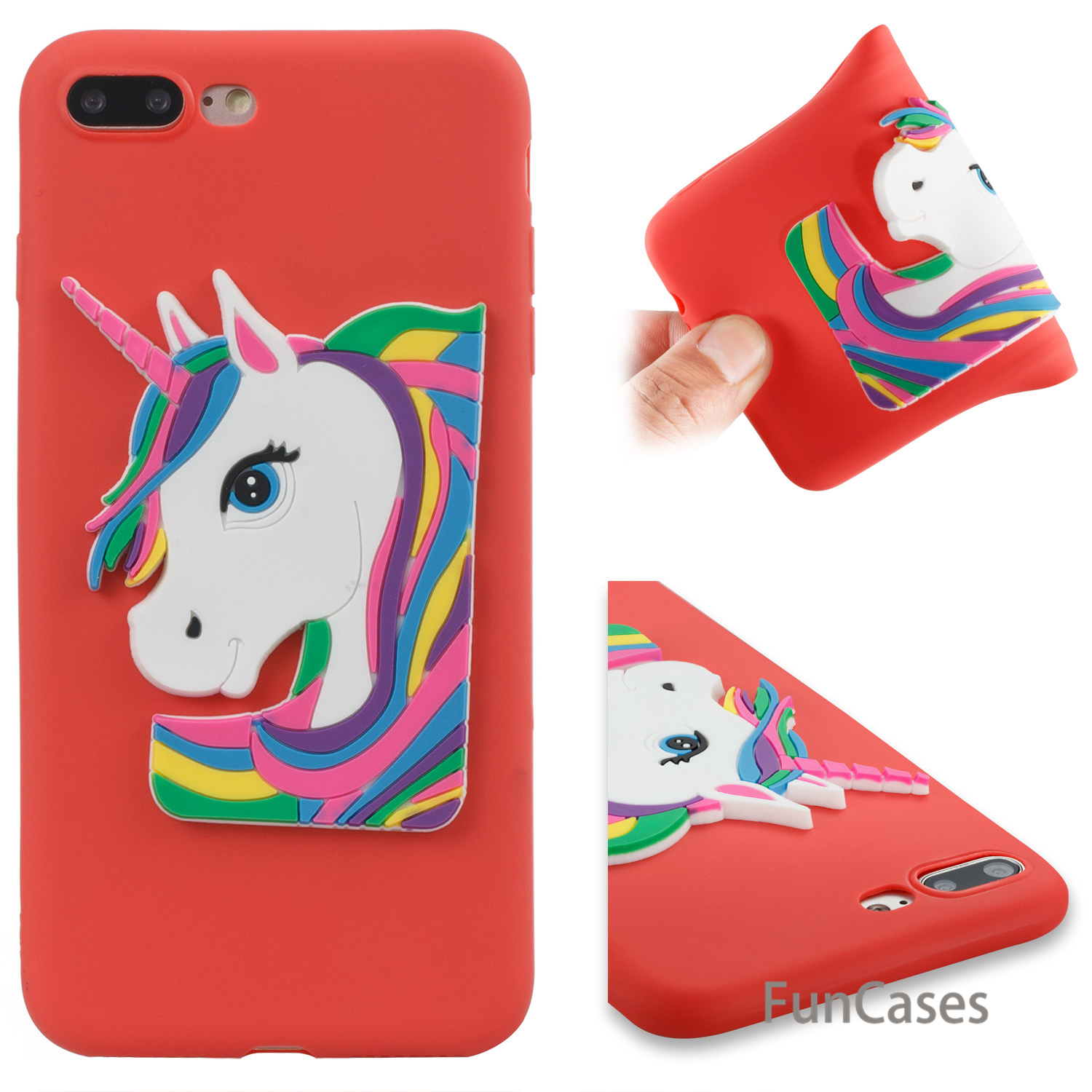 Cute Unicorn Case sFor Estuche iPhone 7 Plus Soft Silicone Phone Case Shell Metallic Flip Case sFor iPhone 8 Plus Case Cellulari