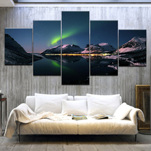 5 Panel HD Print Snow mountain aurora borealis night Landscape On Canvas Art Painting For home living room decoration