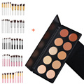 Fashion 10pcs Powder Lip Blusher Makeup Brushes Pinceaux Maquillage + 10 Colors Concealer Palettes Eye Shadow Cosmetics Set Kits