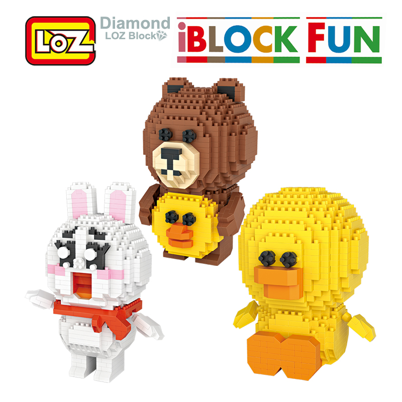 LOZ Line Friends Bear Toy Figure Model Building Blocks Game Brown Cone Sally Brinquedos Toys for Children 9+ Gift 9739 9740 9741 400% bearbrick bear brick ted2 bear model art figure as a gift for boyfriends girlfriends and students