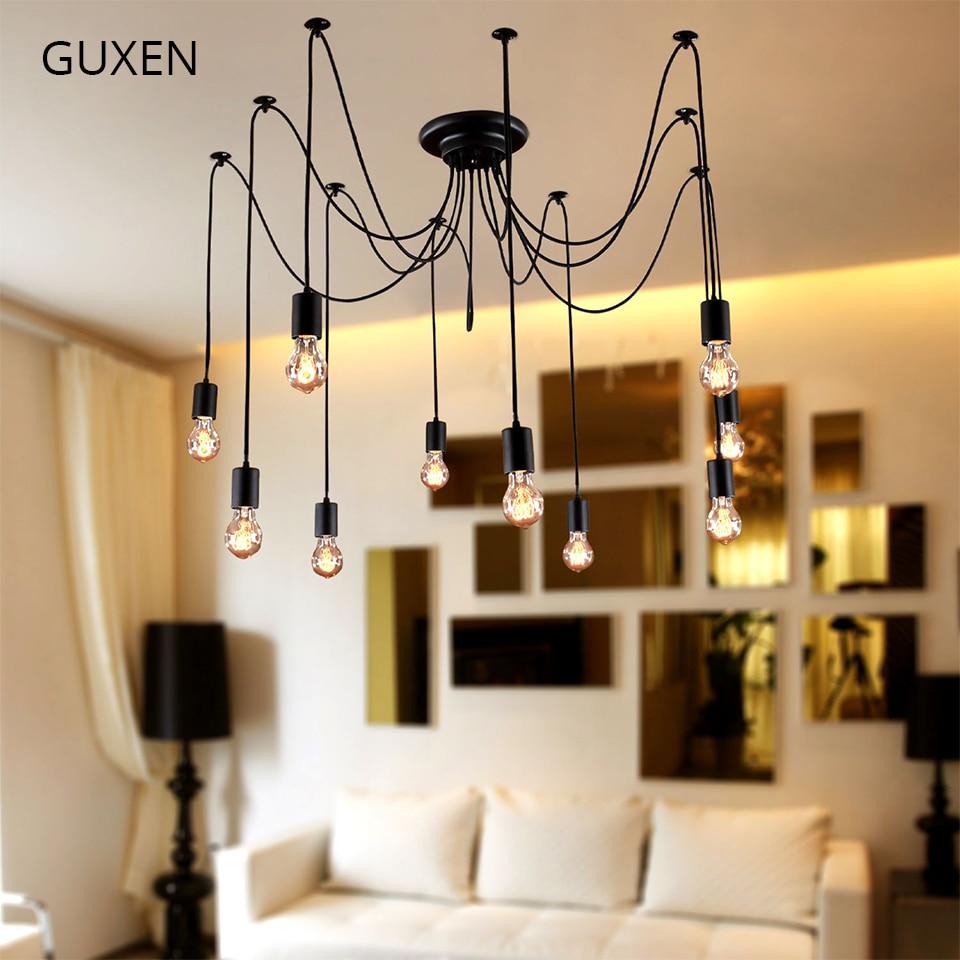 GUXEN 6/8/10 lumières lustre rétro Edison ampoule lumière loft lampe lampes suspendues en fer forgé lampes Restaurant Bar éclairage