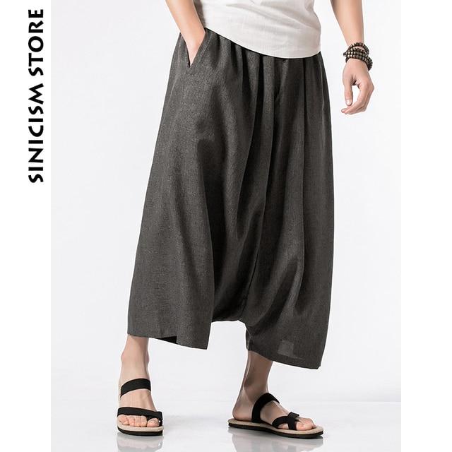 f53712444e96 Pantalones Harem de lino de algodón para hombre Pantalones de verano  informales de pierna salvaje 2018 holgados pantalones acampanados en  Pantalones ...