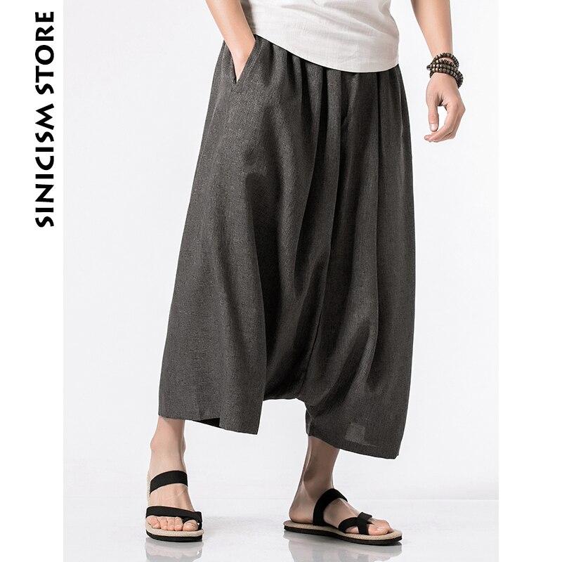 Sinicism Store coton lin Harem pantalon hommes été décontracté sauvage-jambe pantalon 2020 Baggy pantalon ample Flare pantalon
