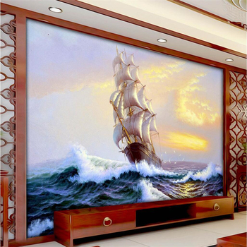 beibehang  living room TV background wall mural wallpaper sailing waves 3D custom wallpaper large mural painting,papel de parede