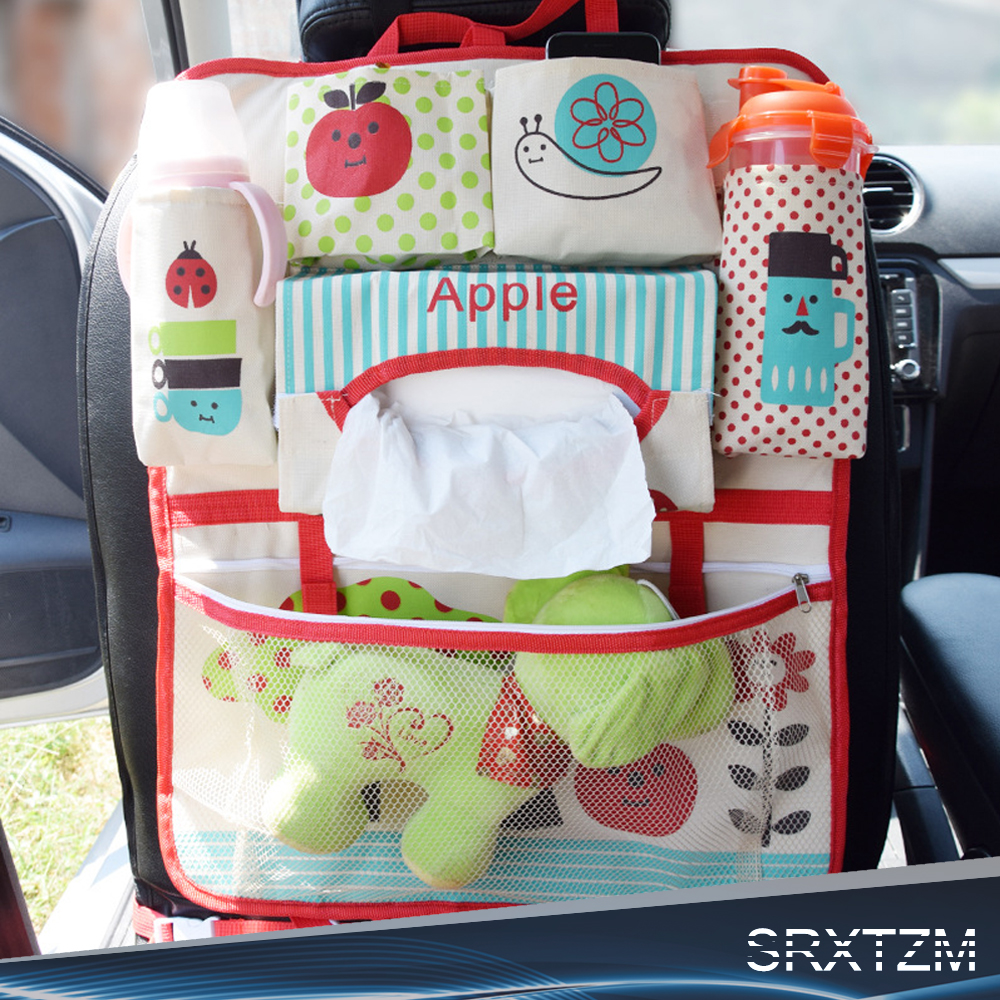 cartoon car organizer back seat multi pocket storage box bag hanging insulation holder mummy bags for kids children