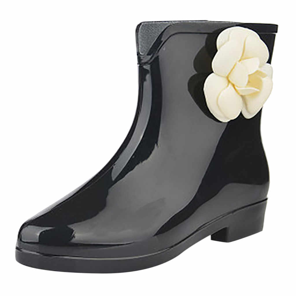 Avrupa tarzı kadın yağmur çizmeleri kama topuk kısa tüp yağmur çizmeleri kaymaz su geçirmez su ayakkabısı kadın zapatos de mujer