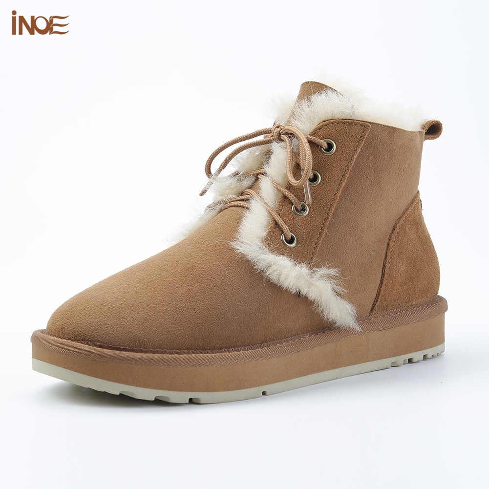INOE אופנה סגנון כבש זמש עור צמר פרווה מרופד נשים קצר קרסול חורף מגפיים מקרית שלג מגפי נעלי שאינו להחליק