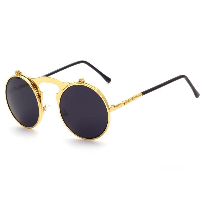 e2d8221779c2 Unisex Cool Flip Up Lens Steampunk New Vintage Retro Style Round Sunglasses  Gold