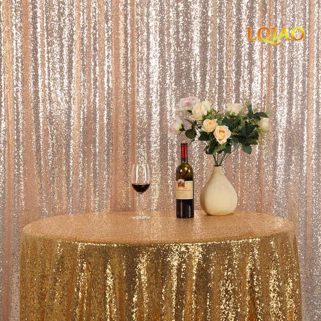 9FT9FT Champagne Gold Shimmer Sequin Fabric Backdrop Curtains Wedding Photo Booth Photography Backdrops