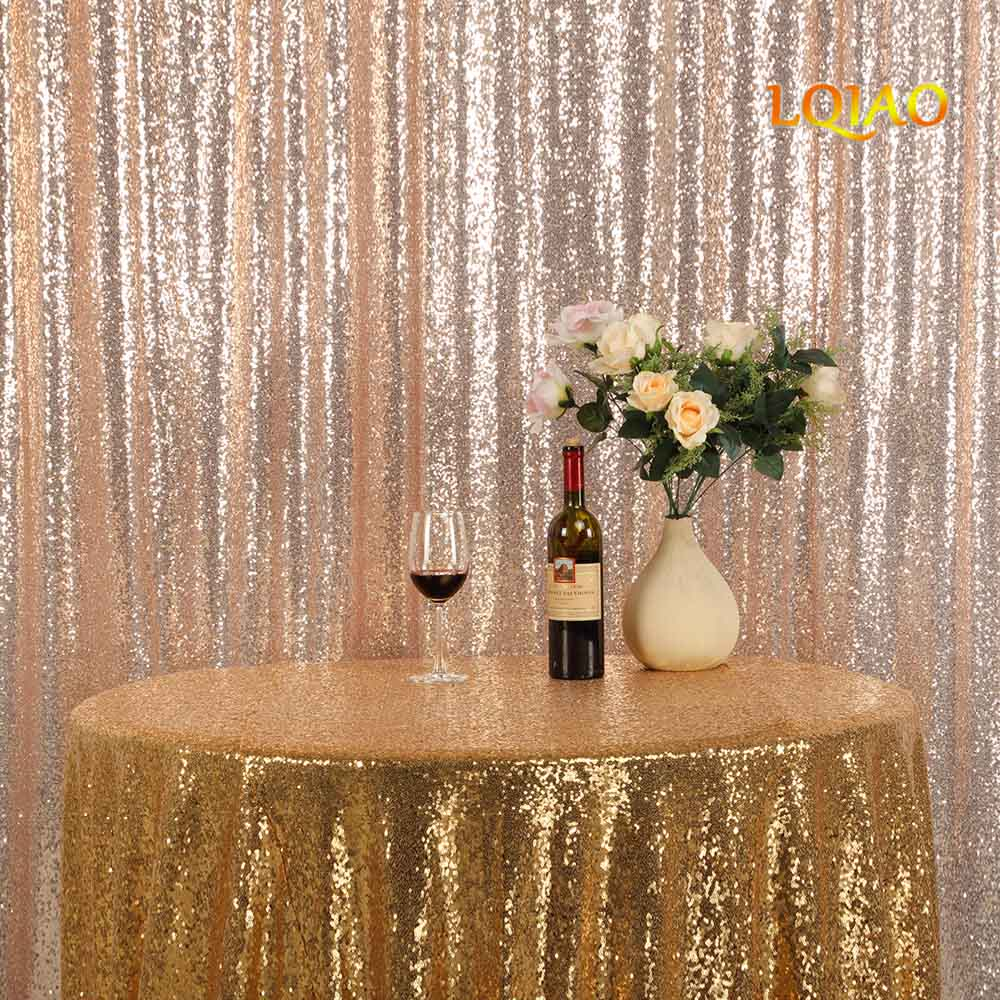 9FT*9FT Champagne Gold Shimmer Sequin Fabric Backdrop Sequin Curtains Wedding Photo Booth Photography Backdrops for Party Decor