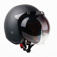 Adult Open Face Half Leather Helmet Harley Moto Motorcycle Helmet vintage Motorbike Vespa motocross capacete Chopper Bike Black